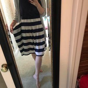 Nautical stripe silk blend skirt TIBI size 10